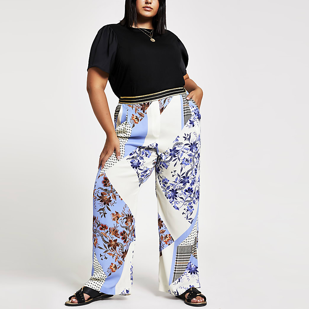 Plus blue print elasticated wide leg trouser