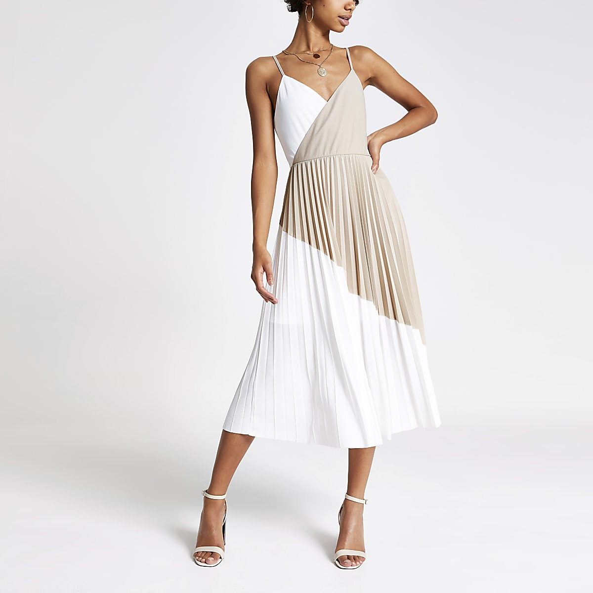 Beige colour block pleated midi dress