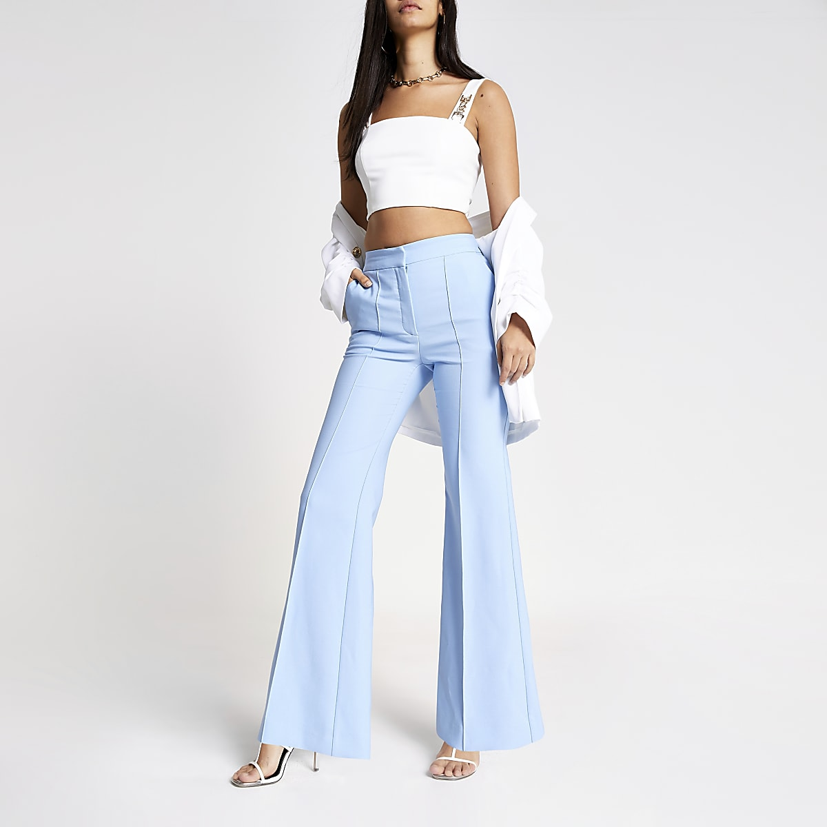 Light blue structured flared trousers