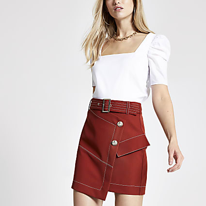 Rust utility mini skirt