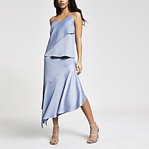 Blue satin asymmetric cami top