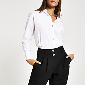 White embellished button stepped hem shirt