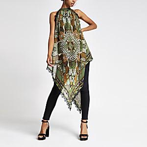 Top à imprimé foulard vert dos nu