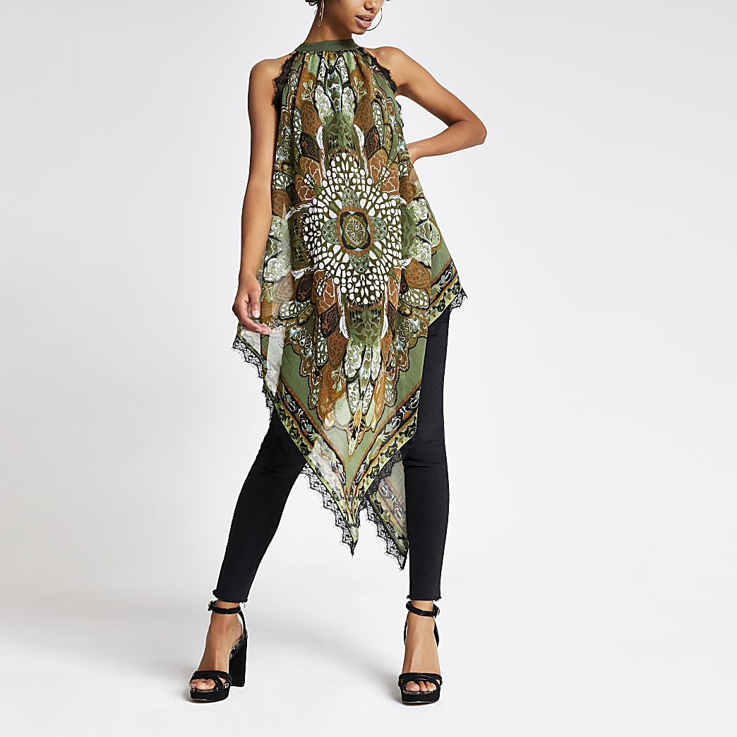 Green scarf print halter neck top
