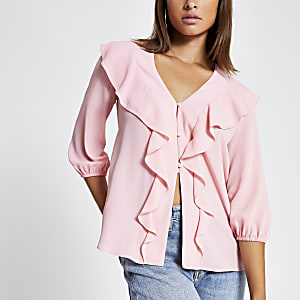 Pink long sleeve frill blouse
