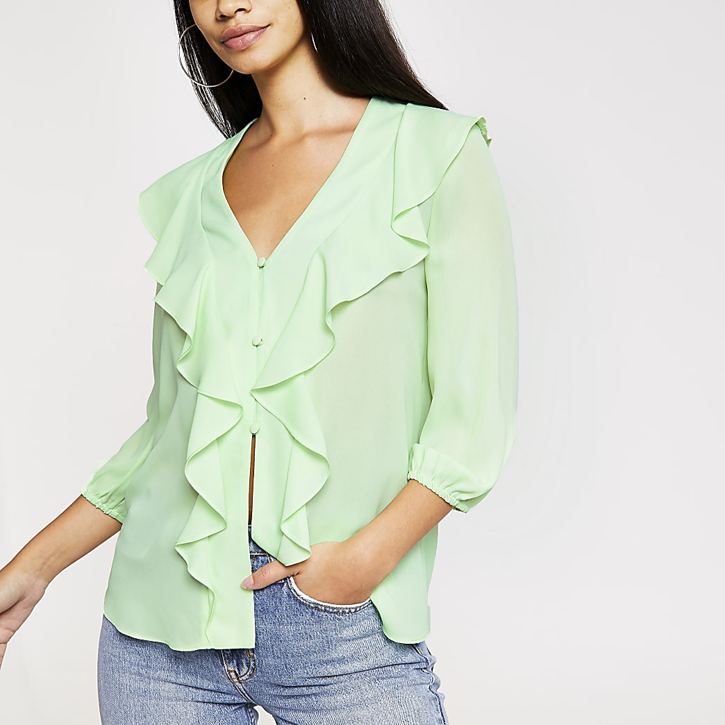 Light green frill front blouse