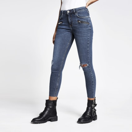 Blue Amelie super skinny zip jeans