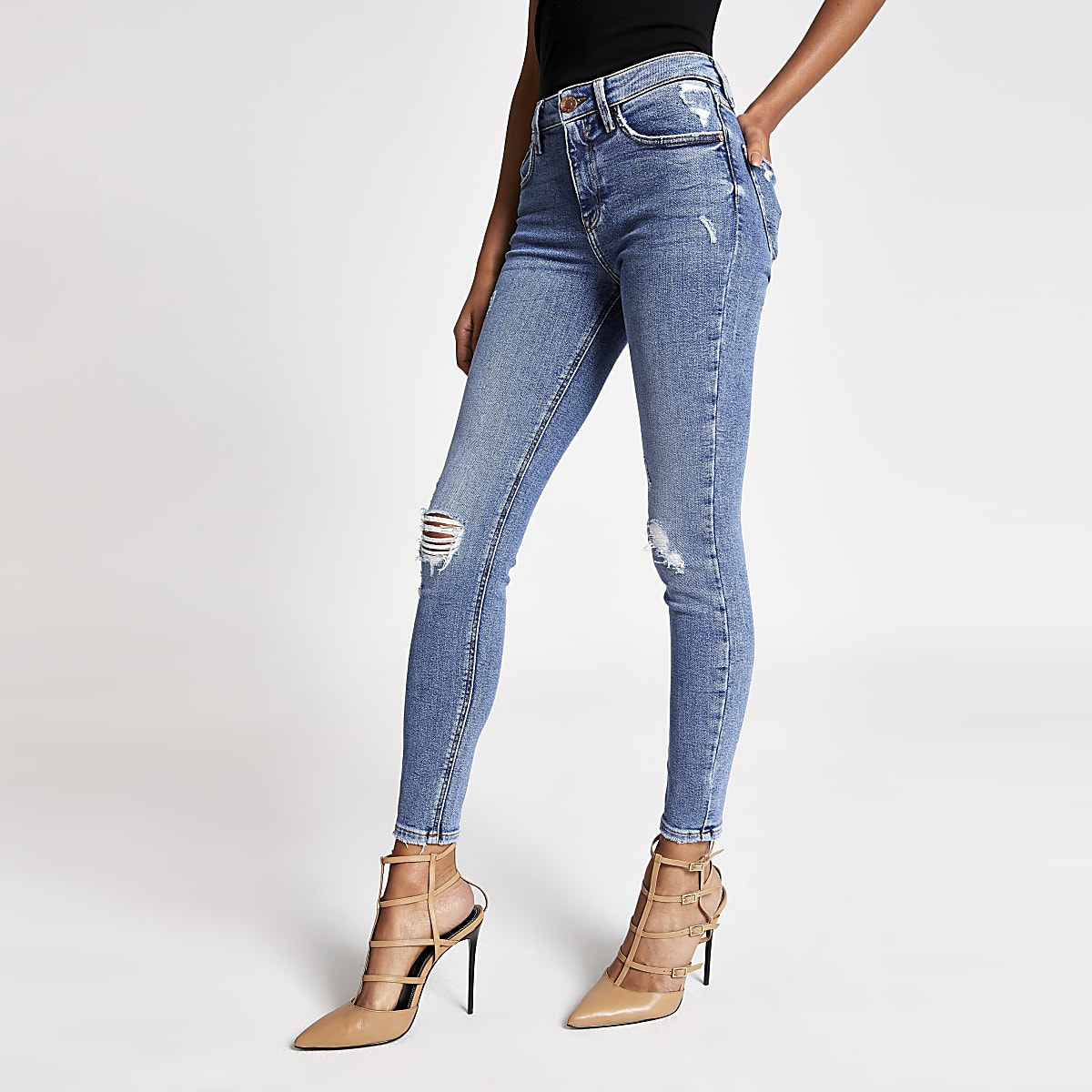 Amelie - Blauwe ripped superskinny jeans