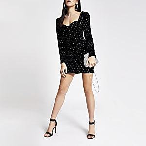 Genietetes, langärmeliges Minikleid aus Samt in Schwarz