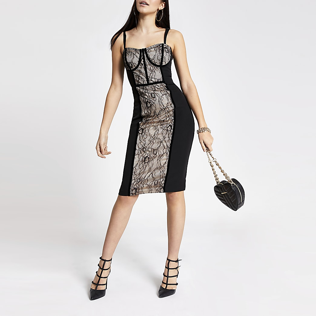 Black lace corset bodycon dress