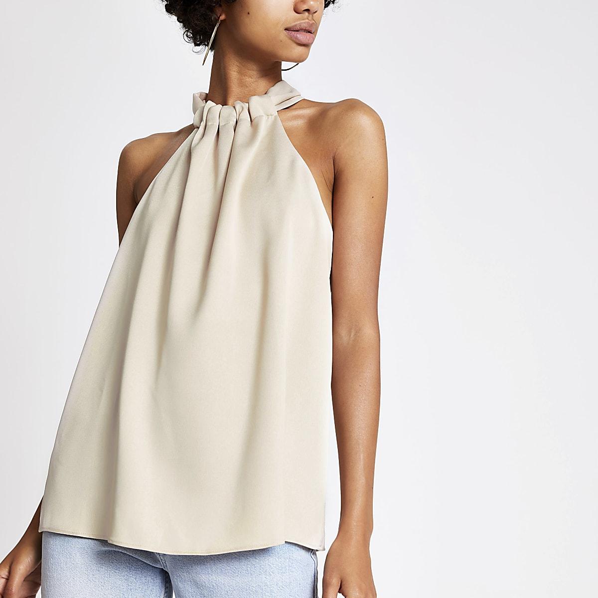 Light beige halter neck top