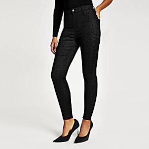 Zwarte glitter Kaiadisco jeans met hoge taille