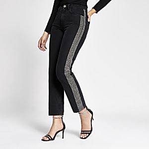 Schwarze Mom-Jeans mit Zierstreifen