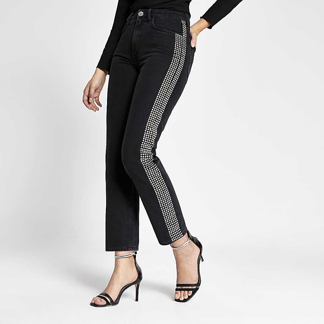 Black Mom embellished denim jeans