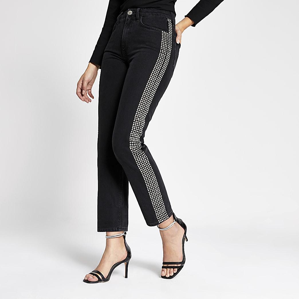 Mom - Zwarte verfraaide denim jeans