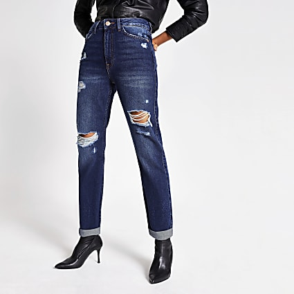 Blue ripped Mom denim jeans