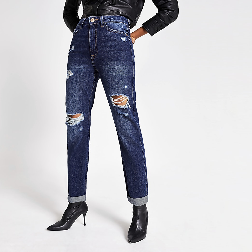 Blauwe ripped denim Mom jeans