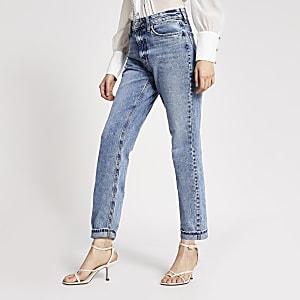 Blaue Mom-Jeans mit hohem Bund