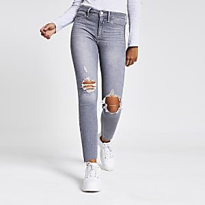 Molly – Graue Jeggings im Used-Look