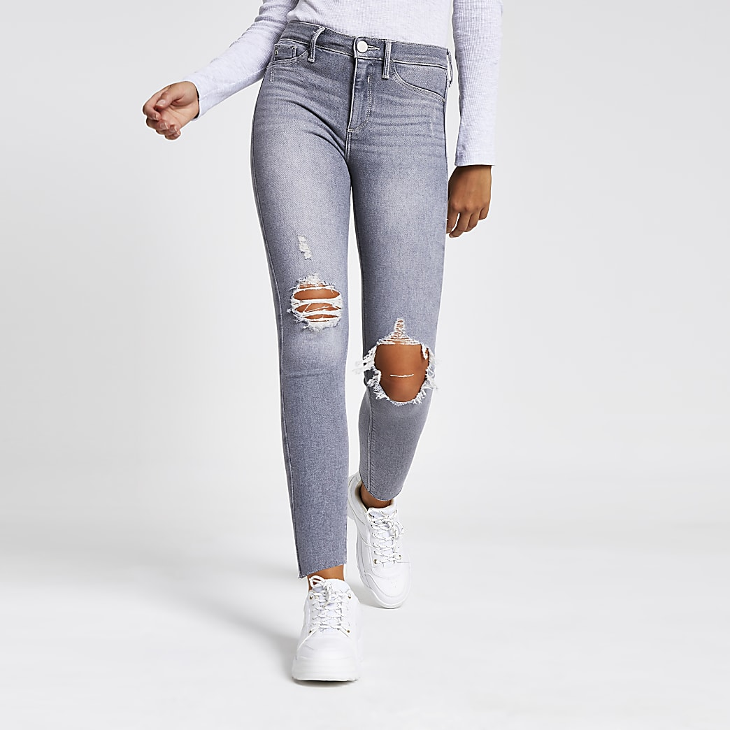 Molly - Grijze ripped jegging