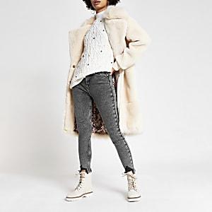 Hailey – Graue Jeans mit hohem Bund im Acid-Wash-Look
