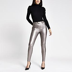 Hailey - Jeans mit hohem Bund in Silber-Metallic