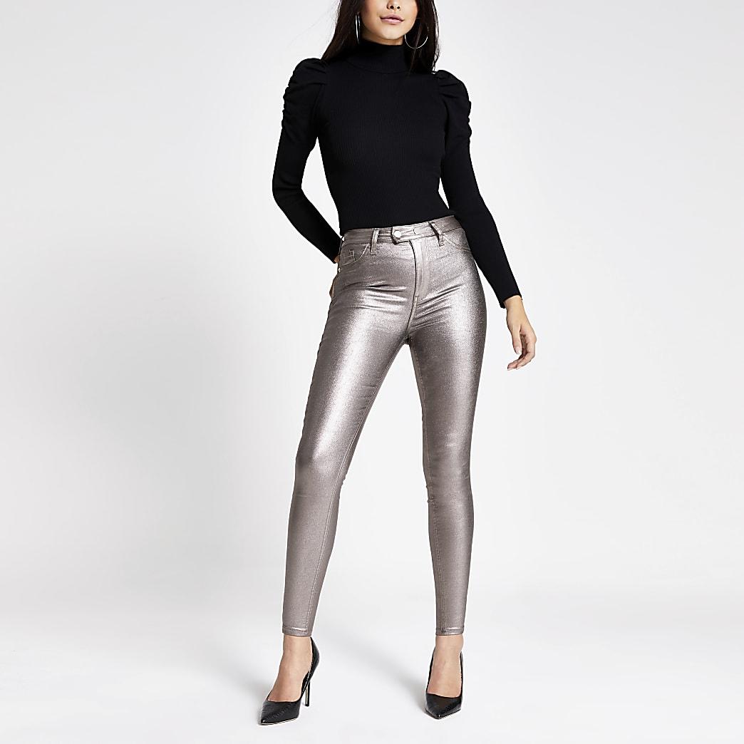 Hailey - Zilverkleurige metallic high rise skinny jeans
