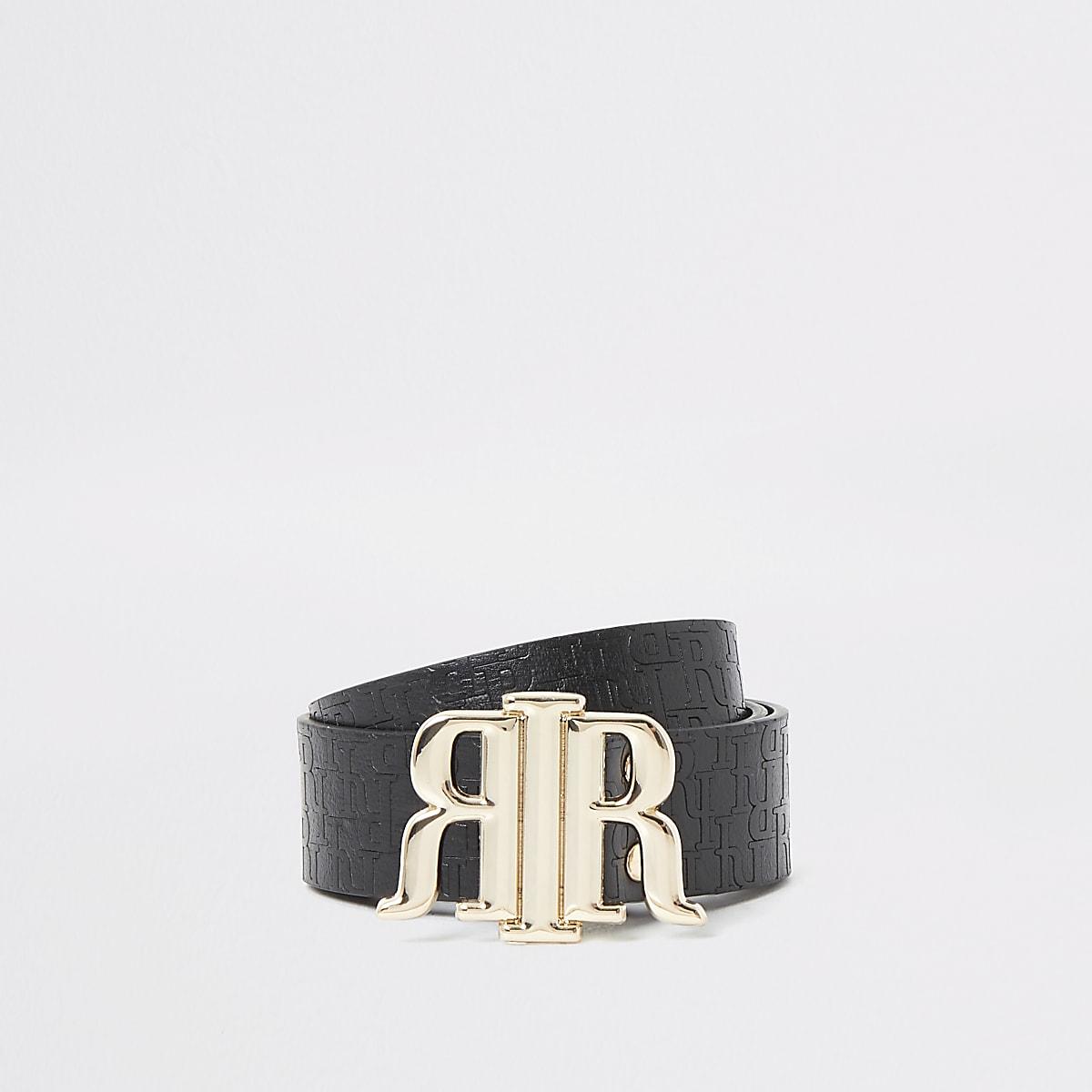Black RI embossed buckle belt