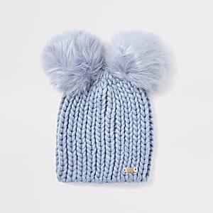 Blaue Beanie-Mütze mit Pompons aus Kunstfell