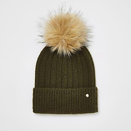 Khaki faux fur pom pom knitted beanie hat