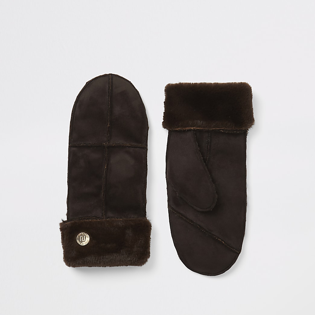 Brown faux suede mitten gloves