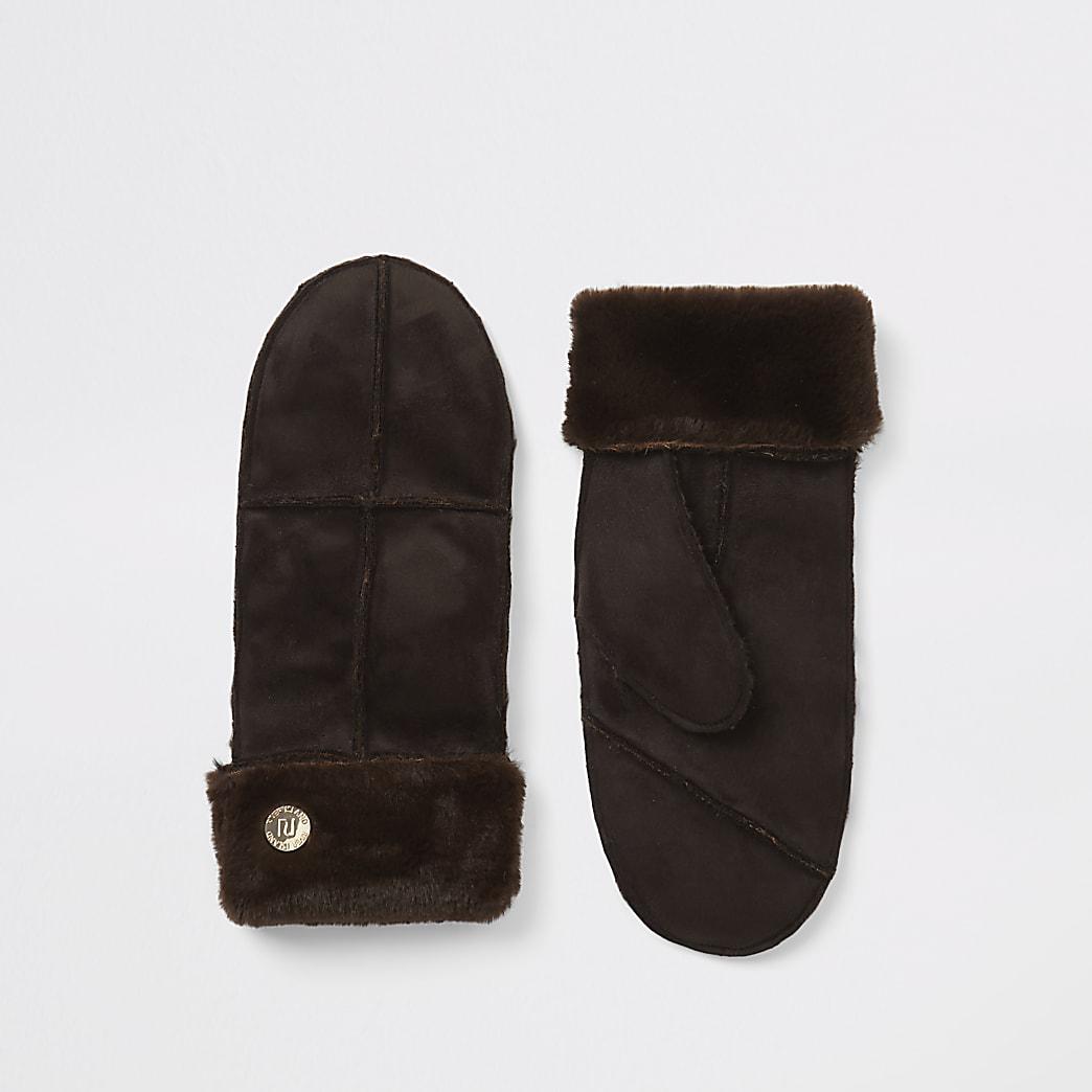 Bruine imitatiesuède wanten handschoenen