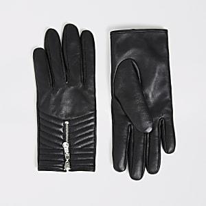 Gants matelassés noirs en cuir