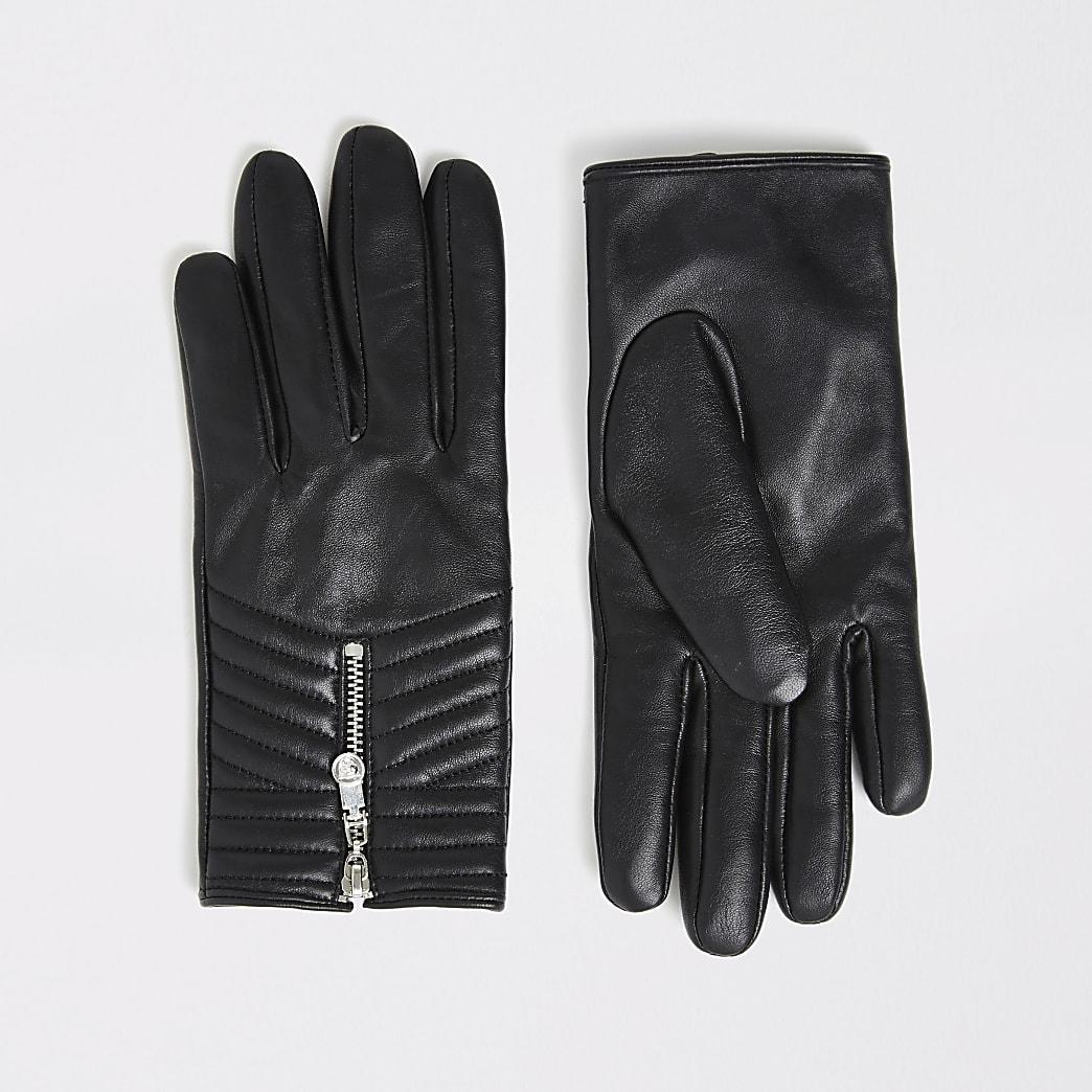 Schwarze, gesteppte Lederhandschuhe