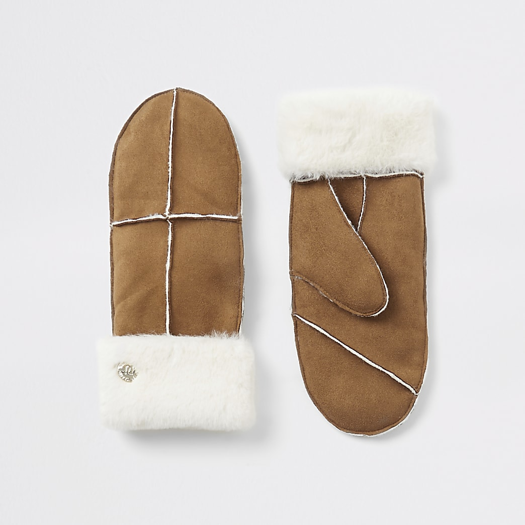 Brown suedette faux fur trim mittens