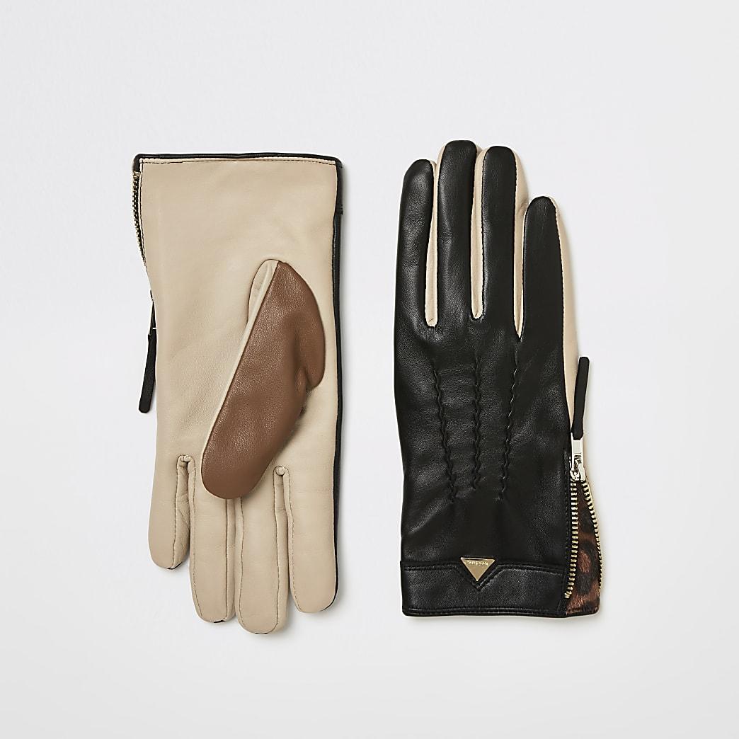 Black colour blocked leather gloves