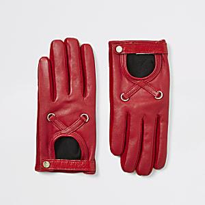 Rode leren handschoenen met uitsnede