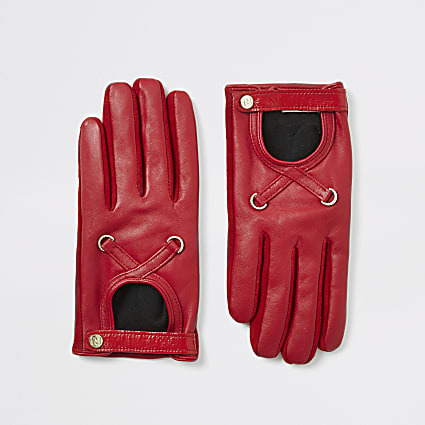 Red leather cut out gloves