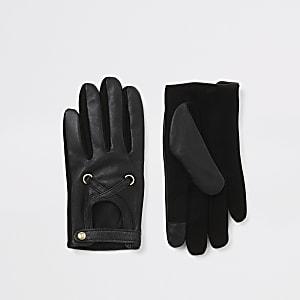 Zwarte leren handschoenen met uitsnede