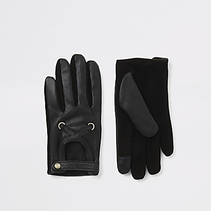 Black leather cut out gloves