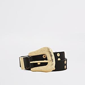 Schwarzer Gürtel mit Schnalle im Westernstil und Nieten