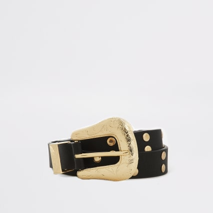 Black studded western buckle belt