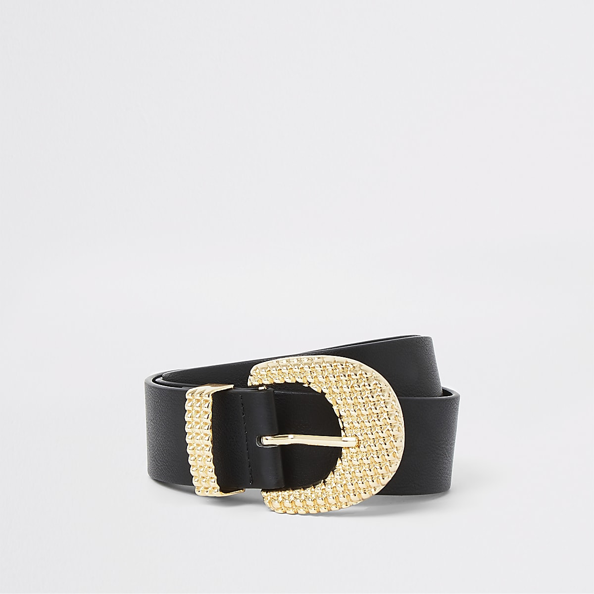 Black textured gold tone buckle jeans belt