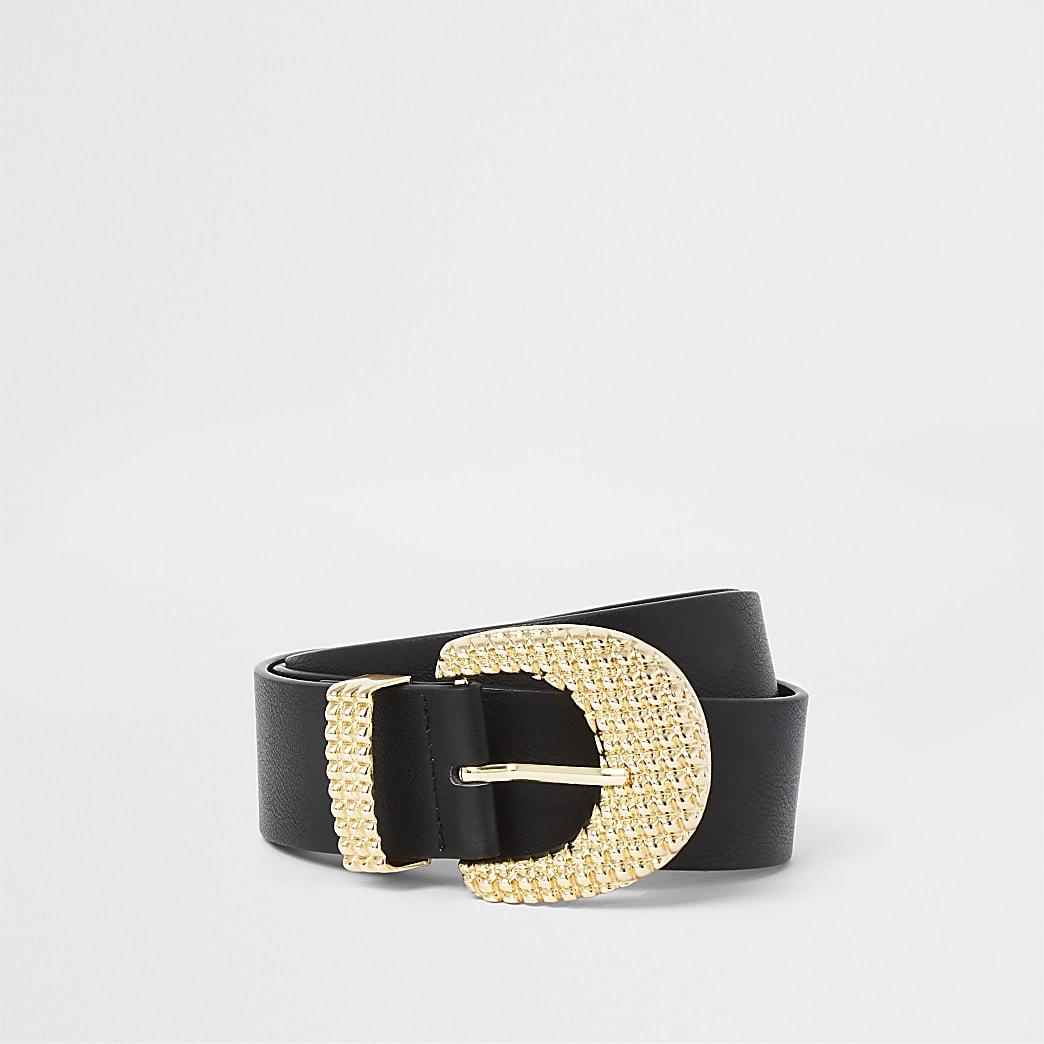 Black textured gold tone buckle jeans belt