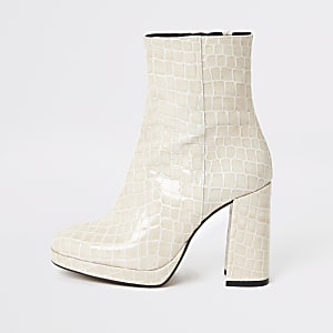 Beigefarbene Plateau-Stiefel aus Leder-Kroko