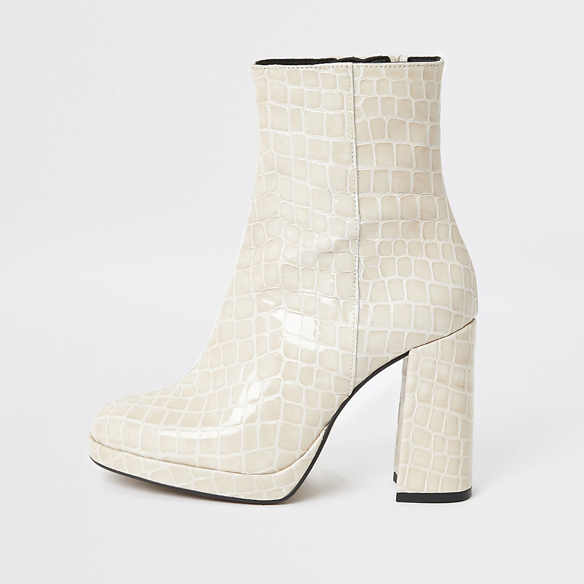 Beige leather croc platform boots