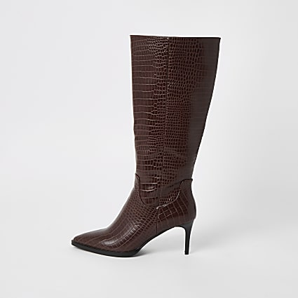 Brown croc embossed knee high pointed boots