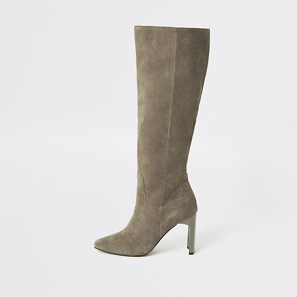 Grey suede knee high heeled boots