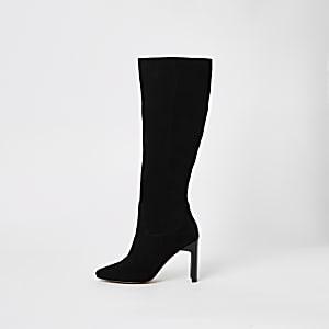 Schwarze kniehohe Stiefel mit Absatz, Wildleder