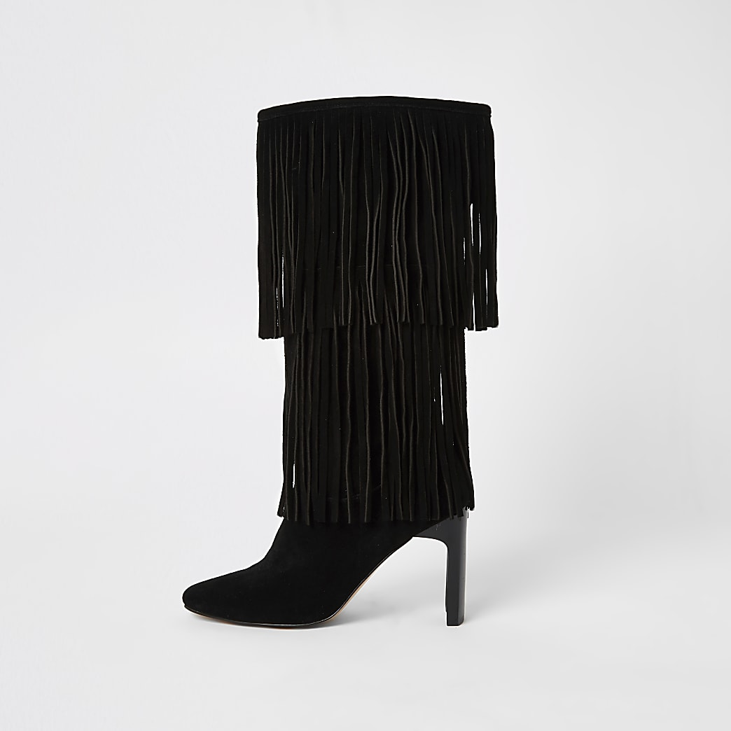 Black suede knee high heeled boots